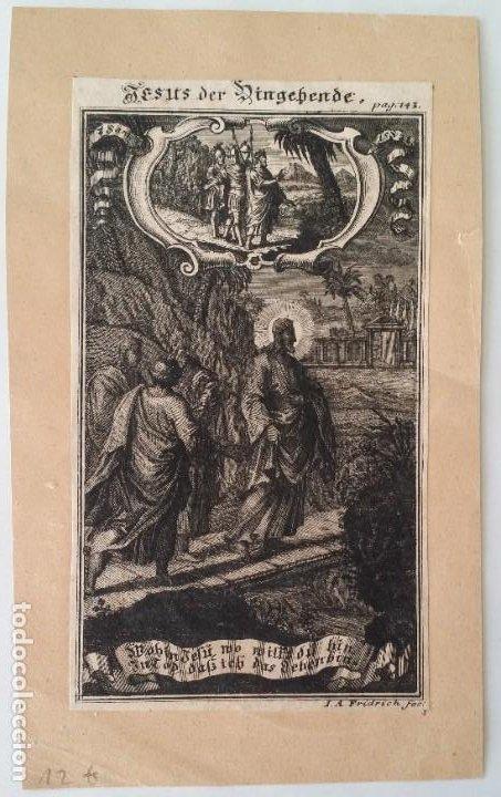 Arte: I.A. Fridrich, Cristo devoto, Jesús en la cruz, dos grabados de 1720 - Foto 3 - 198181972