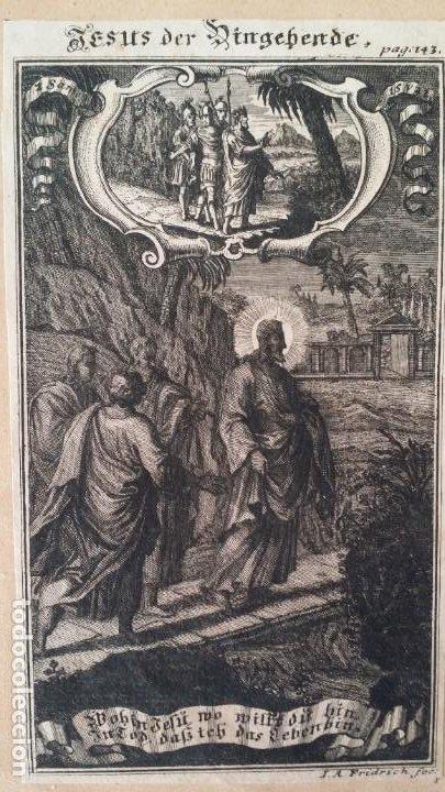 Arte: I.A. Fridrich, Cristo devoto, Jesús en la cruz, dos grabados de 1720 - Foto 2 - 198181972