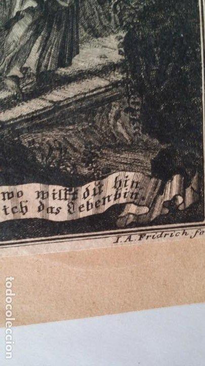 Arte: I.A. Fridrich, Cristo devoto, Jesús en la cruz, dos grabados de 1720 - Foto 5 - 198181972