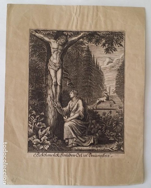 Arte: I.A. Fridrich, Cristo devoto, Jesús en la cruz, dos grabados de 1720 - Foto 7 - 198181972