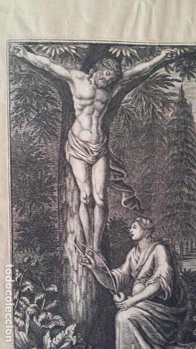 I.A. FRIDRICH, CRISTO DEVOTO, JESÚS EN LA CRUZ, DOS GRABADOS DE 1720 (Arte - Arte Religioso - Grabados)