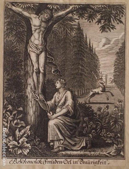 Arte: I.A. Fridrich, Cristo devoto, Jesús en la cruz, dos grabados de 1720 - Foto 10 - 198181972