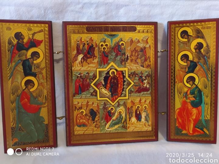 Arte: PRECIOSO TRÍPTICO ARTÍSTICO / RELIGIOSO, ORIGEN GRIEGO, VER - Foto 9 - 198204340