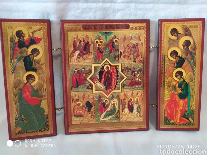 PRECIOSO TRÍPTICO ARTÍSTICO / RELIGIOSO, ORIGEN GRIEGO, VER (Arte - Arte Religioso - Iconos)