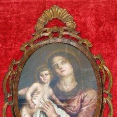 Arte: VIRGEN CON NIÑO. ÓLEO SOBRE LIENZO. MARCO EN MADERA TALLADA. ESPAÑA. SIGLO XVIII. Lote 198205752