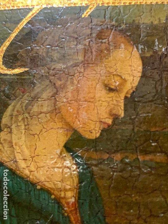 Arte: Antiguo pequeño icono de altar. Virgen. Mide aprox 7,5x9,5cms - Foto 2 - 198460233
