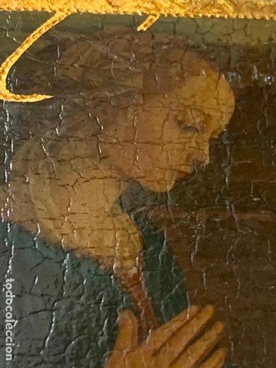 Arte: Antiguo pequeño icono de altar. Virgen. Mide aprox 7,5x9,5cms - Foto 4 - 198460233