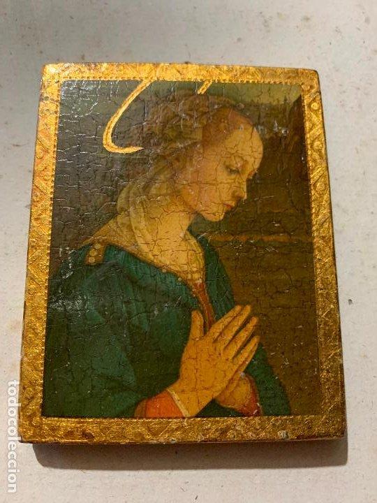 ANTIGUO PEQUEÑO ICONO DE ALTAR. VIRGEN. MIDE APROX 7,5X9,5CMS (Arte - Arte Religioso - Iconos)