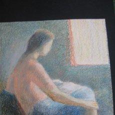 Arte: ACUARELA MUJER MIRANDO A LA VENTANA. Lote 198636086