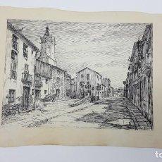 Art: DIBUJO A TINTA DE UN PUEBLO CATALAN ( AÑOS 50 ) FIRMADO BORREL. Lote 198647422