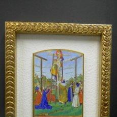 Arte: EL DESCENDIMIENTO DE LA CRUZ MINIATURA DE THE HOURS OF THE ETIENNE CHEVALIER JEAN FOUQUET. Lote 198832960