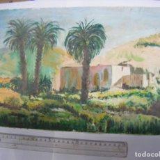 Arte: JML OLEO SOBRE LIENZO PAISAJE CORTIJO CON PALMERAS NORTE AFRICA O SUR DE ESPAÑA, 41X27 CM. . Lote 198995815