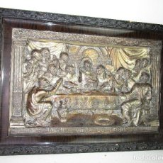 Arte: PRECIOSA PLACA EN METAL PLATEADO Y MADERA CON LA ULTIMA CENA, MUY MUY BUEN TRABAJO. Lote 199073551