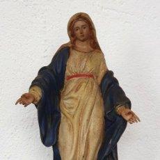 Arte: VIRGEN CON PEANA - HIERRO PINTADO - SG XVII - 49 CM - DE MUSEO.. Lote 199079960