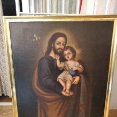 Arte: SAN JOSÉ CON NIÑO JESUS. LIENZO 81X100. CON MARCO 87X107. REENTELADO.. Lote 199081647