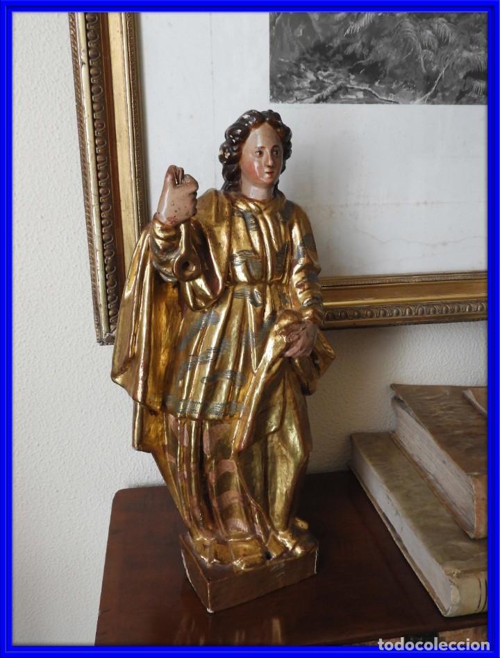 TALLA ESCULTURA ESCUELA ESPAÑOLA S. XVIII MADERA DORADA Y POLICROMADA (Arte - Arte Religioso - Escultura)