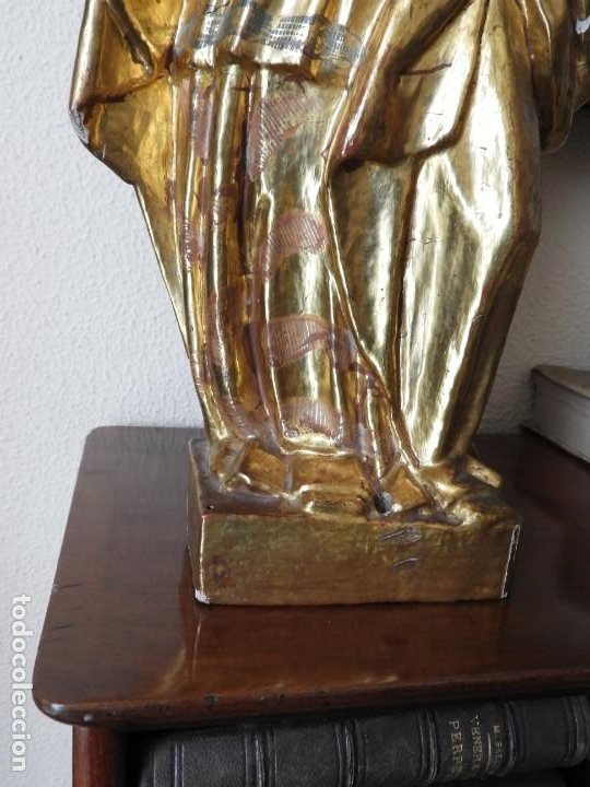 Arte: TALLA ESCULTURA ESCUELA ESPAÑOLA S. XVIII MADERA DORADA Y POLICROMADA - Foto 10 - 199091188