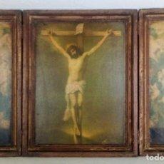 Arte: TRIPTICO RELIGIOSO - LÁMINA SOBRE MADERA 61 X 39 CM.. Lote 199192690