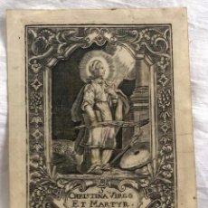 Arte: GRABADO RELIGIOSO CHRISTINA VIRGO ET MARTYR. SIGLO XVIII. RAREZA. Lote 199198170