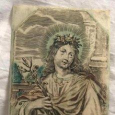Arte: GRABADO RELIGIOSO SANTA ROSALIA. SIGLO XVII. RAREZA. Lote 199198788