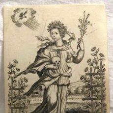 Arte: GRABADO RELIGIOSO SANTA ROSALIA, SIGLO XVIII. RAREZA. Lote 199203078