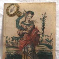 Arte: GRABADO RELIGIOSO SANTA ROSALIA, SIGLO XVII. RAREZA. Lote 199204112