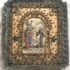 Arte: GRABADO RELIGIOSO SANTA LUCIA Y SAN BLAS. BELLAMENTE DECORADO CON RELIQUIAS EN BORDES. AÑO 1637. Lote 199204480