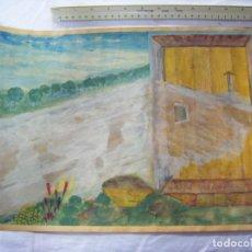 Arte: JML ACUARELA PUERTA ANTIGUO PORTÓN FRENTE CAMPO DE FONDO IBIZA SEVILLA NOVIEMBRE 1992 42X30 CM. Lote 199213291
