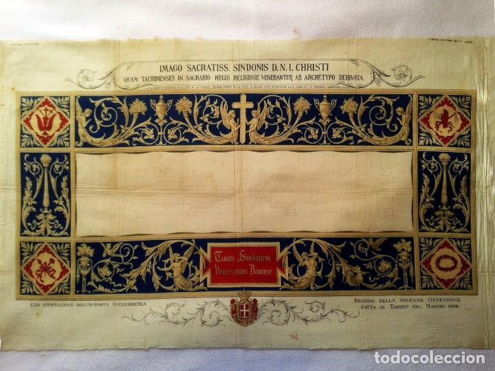 GRABADO S.XIX SÁBANA SANTA DE TURÍN. REGALO INVITADOS ENLACE REAL VICTOR MANUEL III DE SABOYA. 1898 (Arte - Arte Religioso - Pintura Religiosa - Otros)