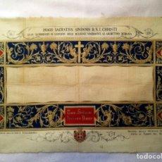 Arte: GRABADO S.XIX SÁBANA SANTA DE TURÍN. REGALO INVITADOS ENLACE REAL VICTOR MANUEL III DE SABOYA. 1898. Lote 199239845