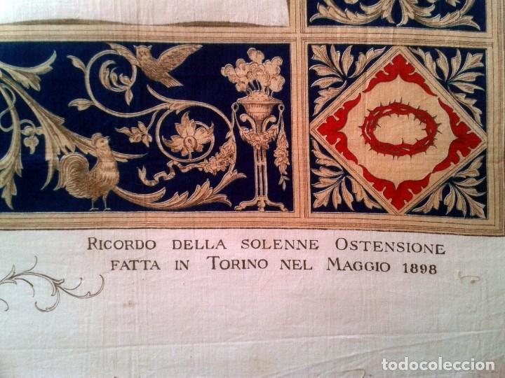 Arte: Grabado s.XIX Sábana Santa de Turín. Regalo invitados enlace real Victor Manuel III de Saboya. 1898 - Foto 3 - 199239845
