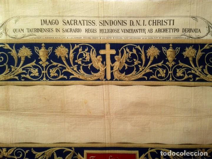 Arte: Grabado s.XIX Sábana Santa de Turín. Regalo invitados enlace real Victor Manuel III de Saboya. 1898 - Foto 4 - 199239845