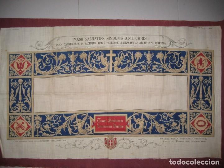 Arte: Grabado s.XIX Sábana Santa de Turín. Regalo invitados enlace real Victor Manuel III de Saboya. 1898 - Foto 12 - 199239845