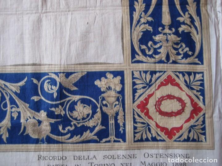 Arte: Grabado s.XIX Sábana Santa de Turín. Regalo invitados enlace real Victor Manuel III de Saboya. 1898 - Foto 25 - 199239845
