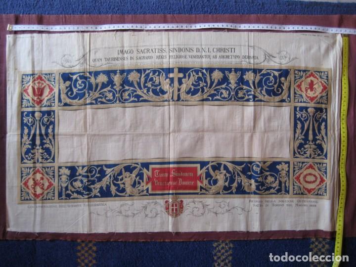 Arte: Grabado s.XIX Sábana Santa de Turín. Regalo invitados enlace real Victor Manuel III de Saboya. 1898 - Foto 29 - 199239845