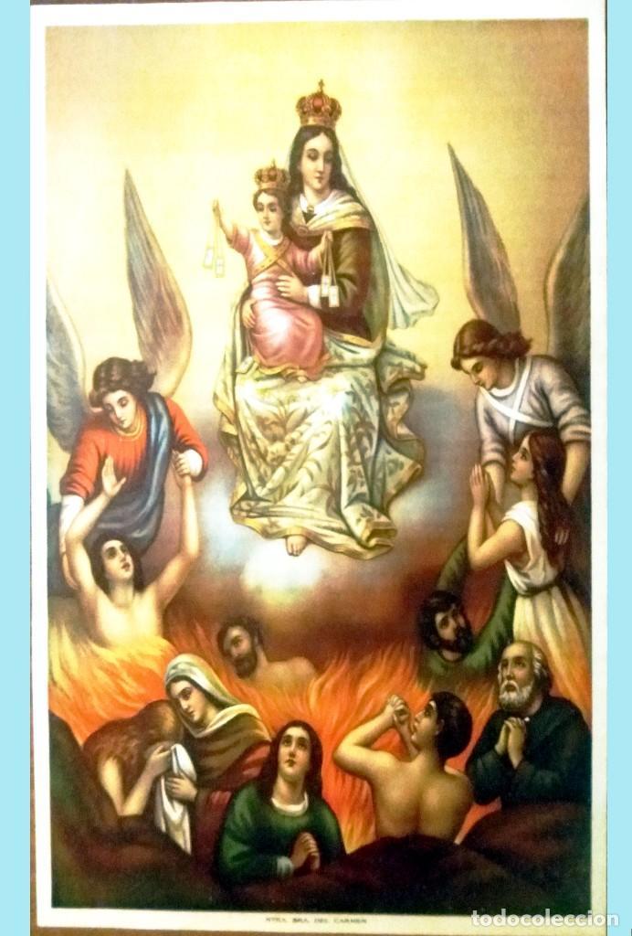 FINALES S.XIX.- LITOGRAFIA ANTIGUA ALEMANA EN PAPEL-TELA -NTRA.SRA. DEL CARMEN- 56 X 41 CM. (Arte - Arte Religioso - Litografías)