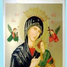 Arte: FINALES S.XIX.- LITOGRAFIA ANTIGUA ALEMANA EN PAPEL-TELA -NTRA.SRA.PERPETUO SOCORRO- 64 X 48 CM.. Lote 199258646