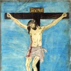 Arte: CRISTO DE LAS INJURIAS. GOAUCHE ORIGINAL DE JULIO MOSTAJO 1942. SEMANA SANTA ZAMORA.. Lote 199309203