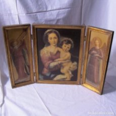 Arte: TRÍPTICO GRANDE VIRGEN MARÍA CON NIÑO JESUS Y ÁNGELES, MADERA. Lote 199397301