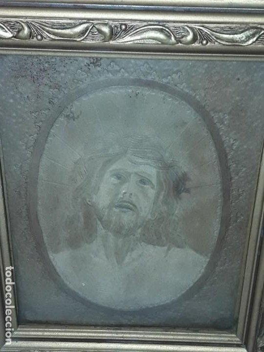 Arte: Precioso antiguo cuadro cuero repujado Jesús Cristo con bello marco madera con pan de oro años 20/30 - Foto 4 - 199643806