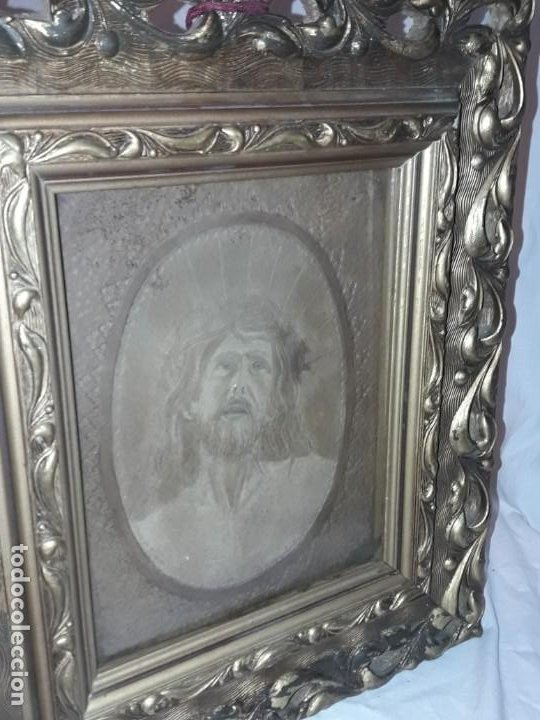 Arte: Precioso antiguo cuadro cuero repujado Jesús Cristo con bello marco madera con pan de oro años 20/30 - Foto 12 - 199643806