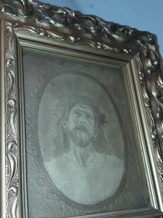 Arte: Precioso antiguo cuadro cuero repujado Jesús Cristo con bello marco madera con pan de oro años 20/30 - Foto 15 - 199643806