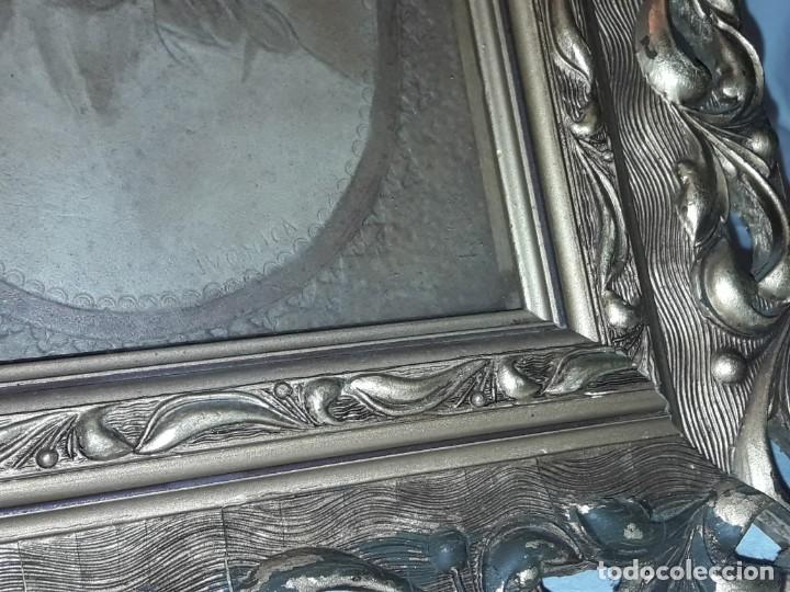 Arte: Precioso antiguo cuadro cuero repujado Jesús Cristo con bello marco madera con pan de oro años 20/30 - Foto 21 - 199643806