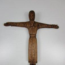 Arte: CRISTO - MAJESTAD - TALLA DE BEGET (GIRONA) - ESTILO ROMÁNICO - MADERA DE BOJ - 38 CM ALTURA. Lote 199705815