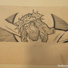 Arte: PERE CORBERÓ. DIBUJO TINTA, CRISTO CON CORONA DE ESPINAS. 16 X 23,5 CM. Lote 199753530