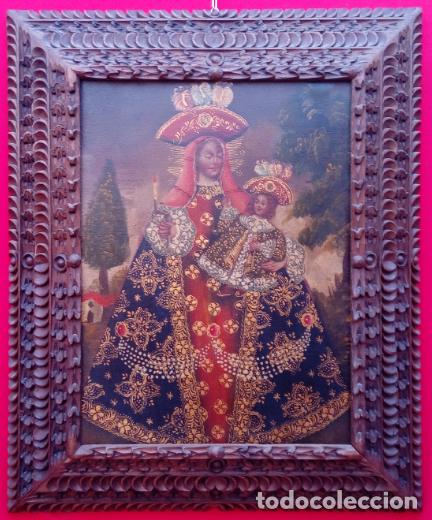 ÓLEO S/LIENZO -VIRGEN CON NIÑO-, ESCUELA CUZQUEÑA S. XIX. BUEN MARCO TALLADO. DIM.- 55,5X45,5 CMS. (Arte - Arte Religioso - Pintura Religiosa - Oleo)