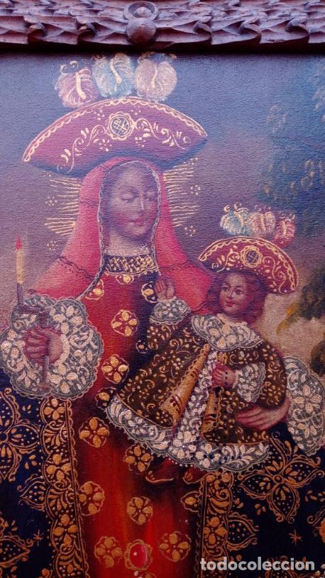 Arte: ÓLEO S/LIENZO -VIRGEN CON NIÑO-, ESCUELA CUZQUEÑA S. XIX. BUEN MARCO TALLADO. DIM.- 55,5X45,5 CMS. - Foto 3 - 199765988