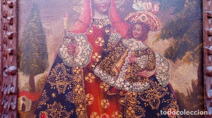 Arte: ÓLEO S/LIENZO -VIRGEN CON NIÑO-, ESCUELA CUZQUEÑA S. XIX. BUEN MARCO TALLADO. DIM.- 55,5X45,5 CMS. - Foto 5 - 199765988
