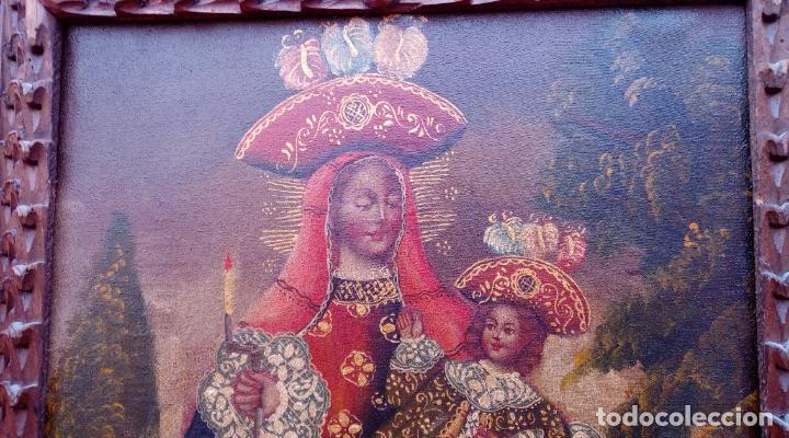 Arte: ÓLEO S/LIENZO -VIRGEN CON NIÑO-, ESCUELA CUZQUEÑA S. XIX. BUEN MARCO TALLADO. DIM.- 55,5X45,5 CMS. - Foto 6 - 199765988