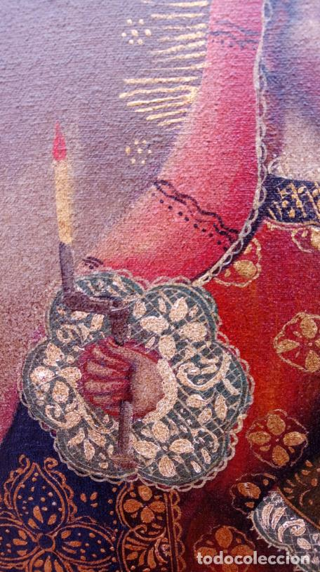 Arte: ÓLEO S/LIENZO -VIRGEN CON NIÑO-, ESCUELA CUZQUEÑA S. XIX. BUEN MARCO TALLADO. DIM.- 55,5X45,5 CMS. - Foto 9 - 199765988
